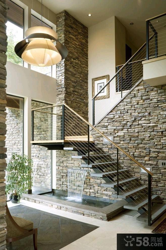 美式装修室内楼梯图片