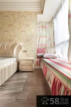 田园风格设计卧室飘窗图片