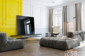 柠檬黄点缀现代时尚公寓装修效果图
