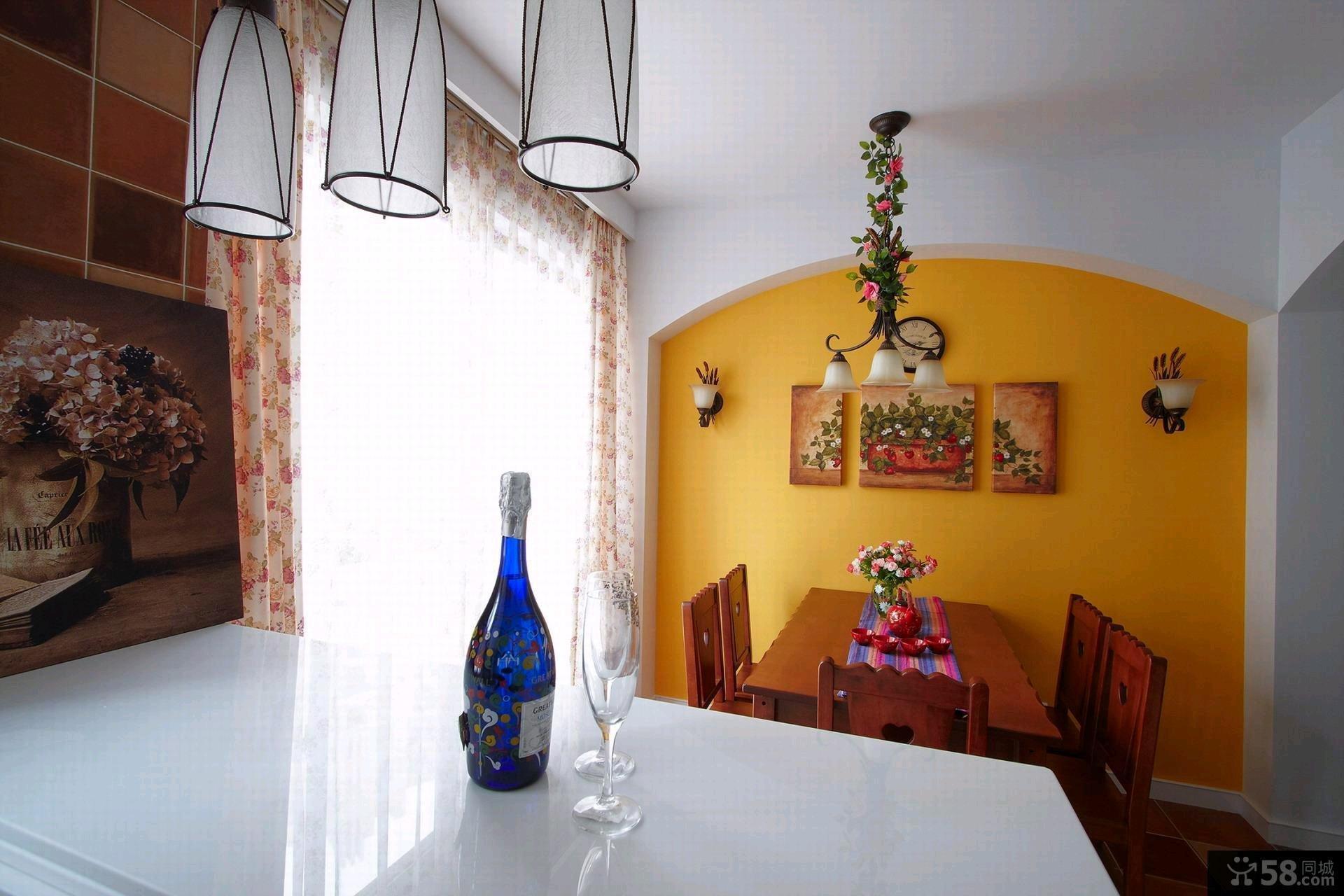 美式田园风格装修一居室家庭客厅效果图