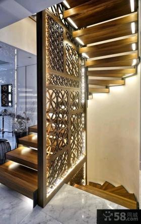 中式风格木制楼梯隔断装修效果图
