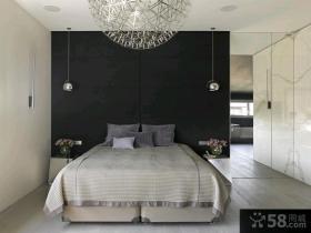 简约家居卧室素色窗帘装修效果图
