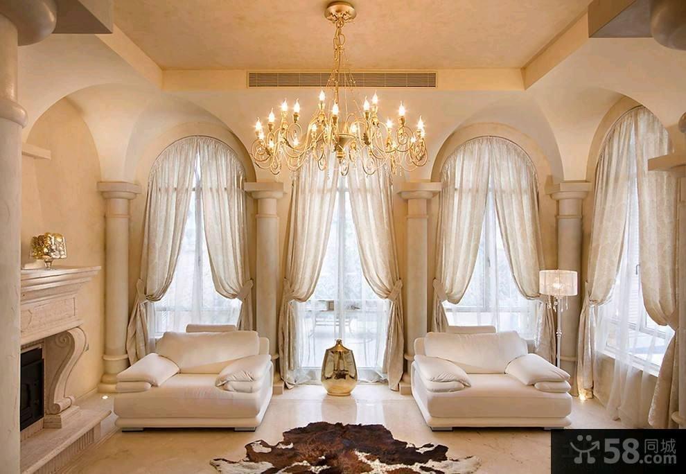 家装豪华时尚客厅窗帘效果图欣赏