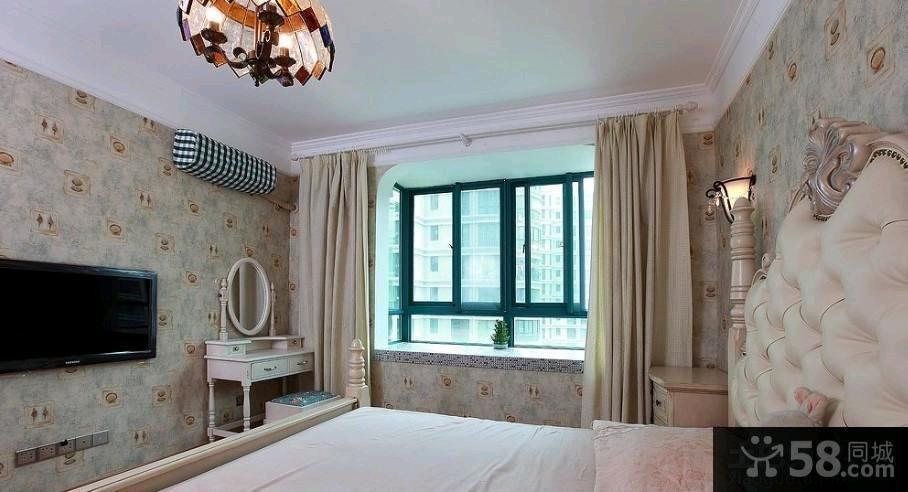 美式卧室纯色窗帘效果图片