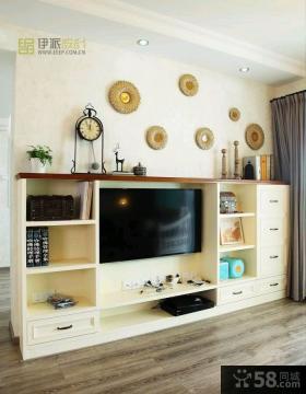 田园风格电视柜背景墙装修效果图大全2013图片
