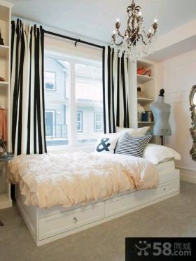 欧式风格二居公寓卧室窗帘效果图