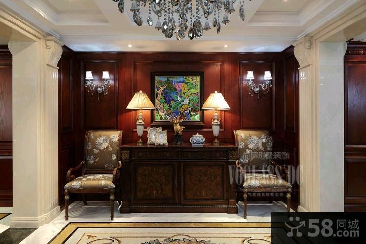 美式风格两室两厅卧室背景墙效果图