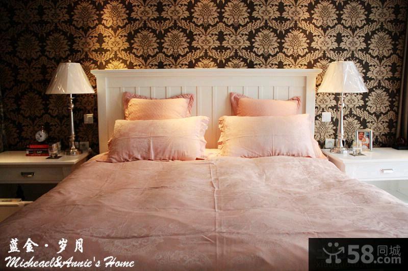简约卧室床头背景墙效果图