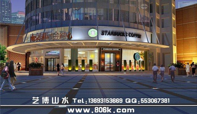 商业建筑效果图 室外建筑效果图 商业楼全景图