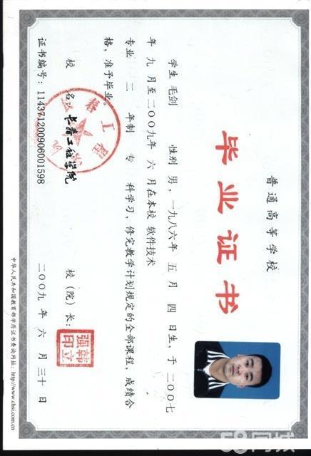毛剑专业证书