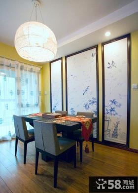 中式餐厅背景墙壁画效果图