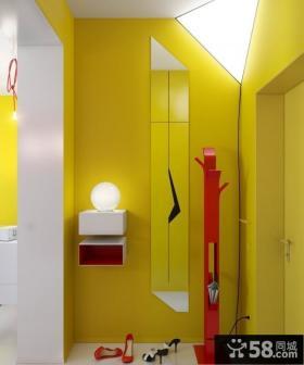 90平米小户型鲜艳的黄色进门玄关装修效果图
