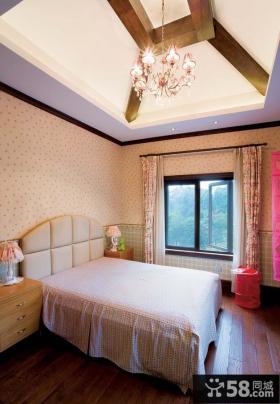 玫瑰园地中海别墅卧室吊顶装修效果图