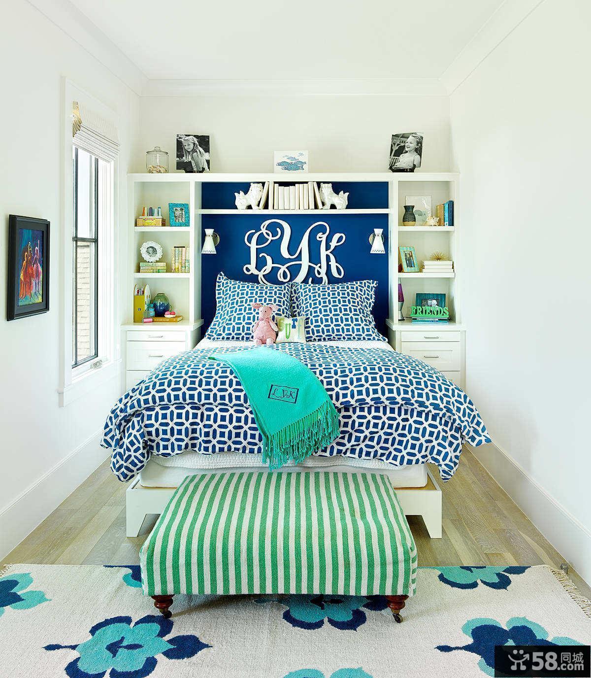 清新蓝绿色儿童房装饰设计