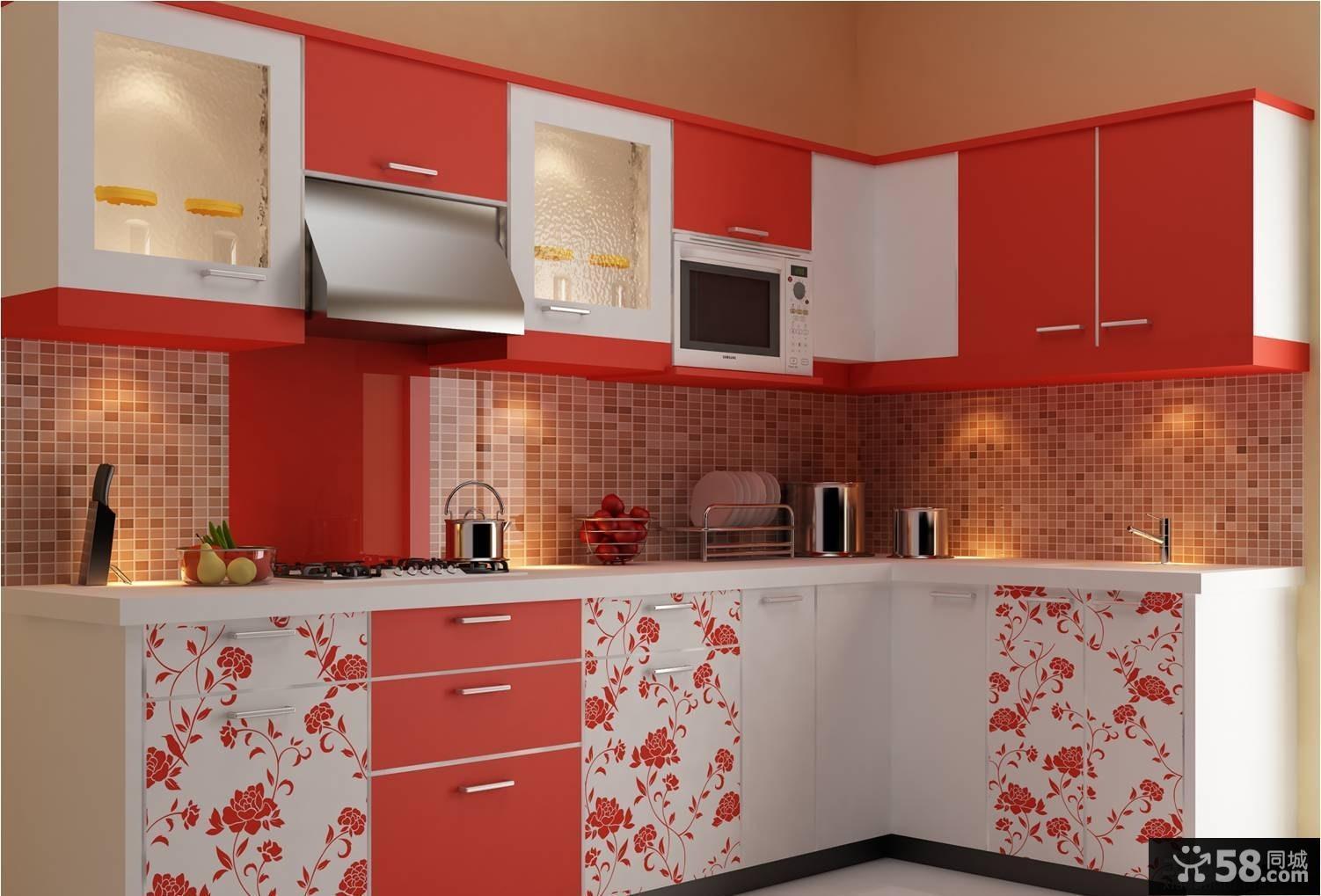 现代风格红白色橱柜设计