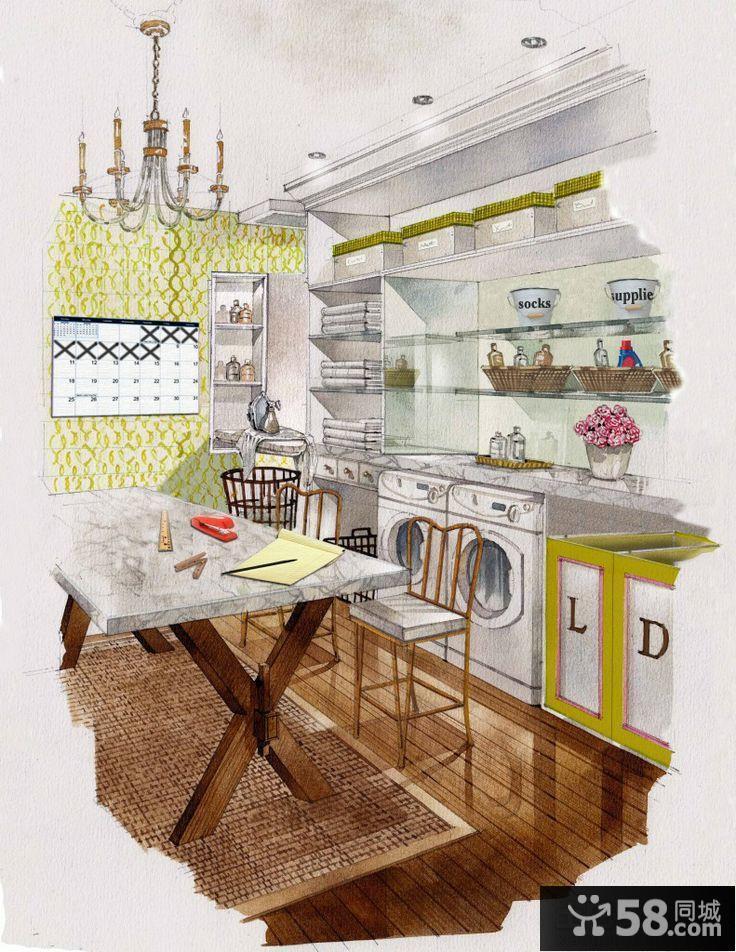 餐廳室內設計手繪效果圖