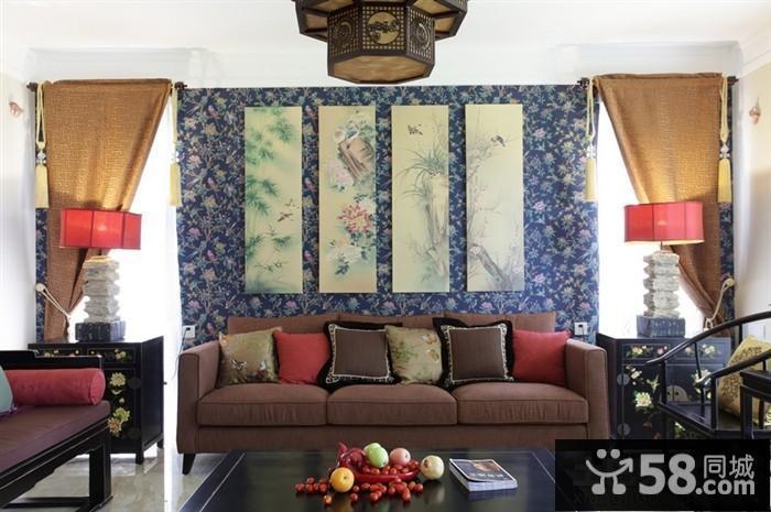 中式客厅沙发背景墙隔断效果图
