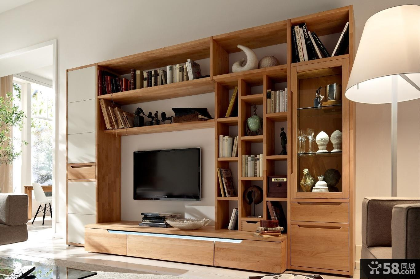 简约家居客厅实木电视柜图片