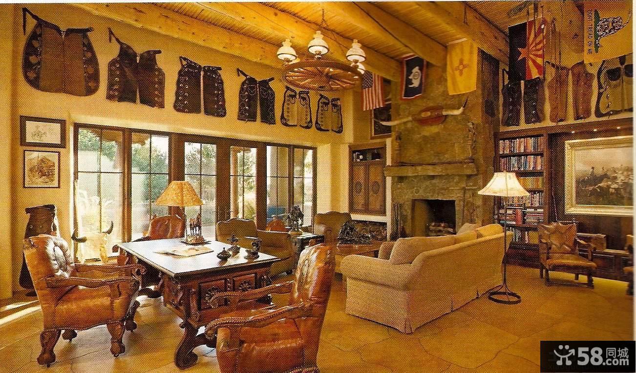 美式别墅客厅灯具效果图
