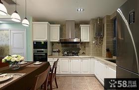 L型美式开放式厨房装修图片