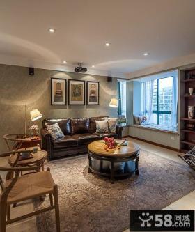 美式一居室家庭客厅装修图片2014