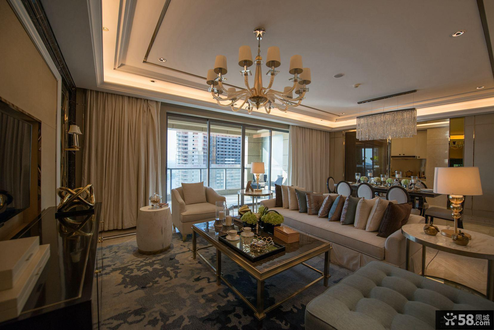 豪华现代新古典风格三居室图片欣赏大全