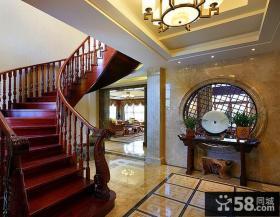 豪华中式红木楼梯设计