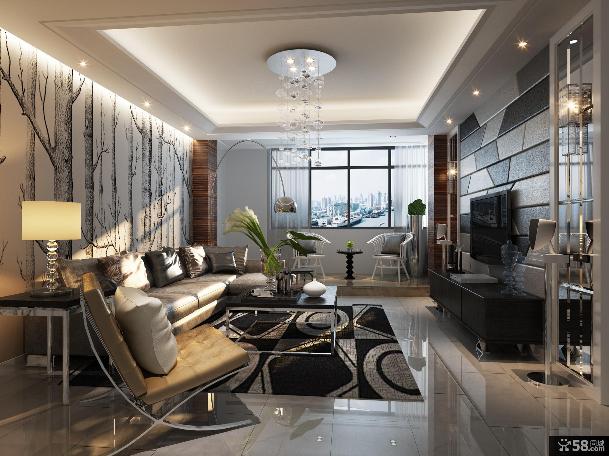 2013现代风格客厅吊顶装修效果图欣赏