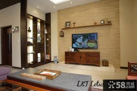 2013家装客厅木质电视背景墙装修效果图