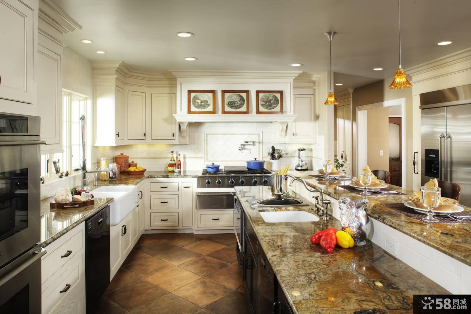 欧式整体厨房装修效果图2014