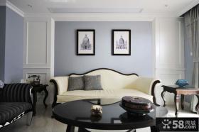 蓝色时尚复古美式客厅装潢案例