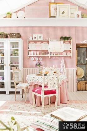 粉色系单身公寓餐厅装修效果图