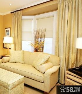 简约欧式客厅窗帘装修效果图