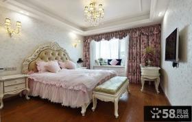浪漫粉色简欧卧室装潢效果图