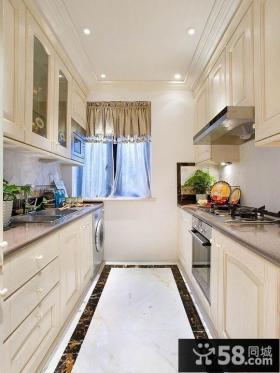 欧式风格狭长型厨房装修效果图