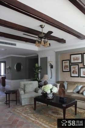 古典欧式两室两厅家庭客厅装修效果图大全