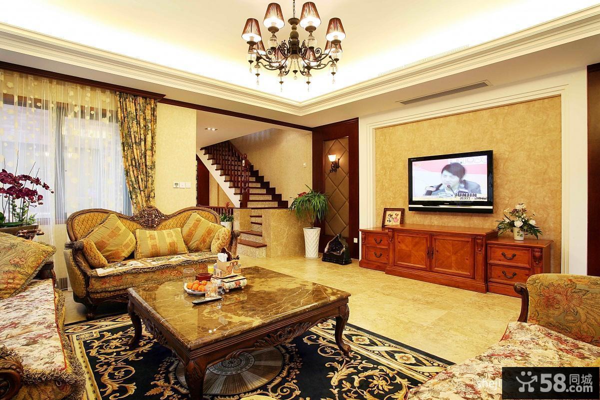 复式楼客厅电视背景墙装修图片