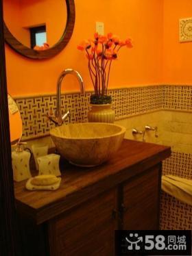 田园风格整体卫生间洗手盆图片欣赏