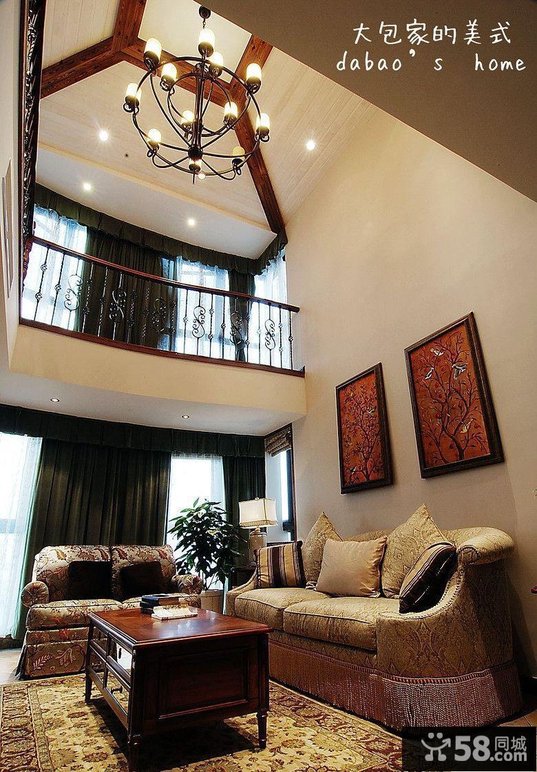 美式大客厅吊顶装修效果图