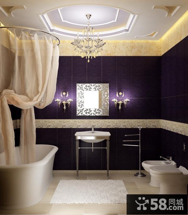 欧式卫生间装修效果图 卫生间窗帘装修效果图