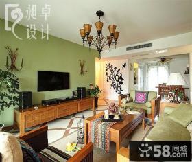 最新美式客厅电视背景墙设计效果图欣赏