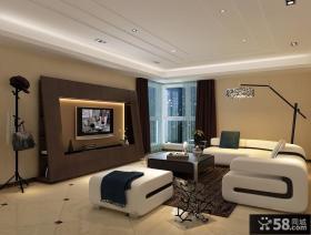 现代客厅电视机背景墙墙装修效果图