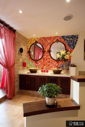 别墅卫生间洗手台装修设计图片