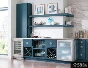 蓝色整体酒柜设计