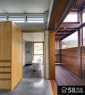 日式装修设计豪华卫生间隔断图片