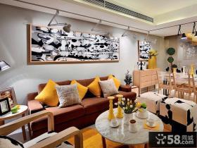 现代复式楼撞色客厅装修效果图