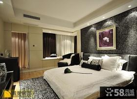 简约卧室飘窗窗帘装修效果图片