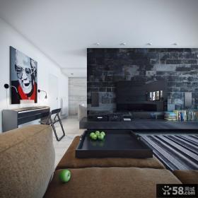 仿古砖电视背景墙装修效果图片