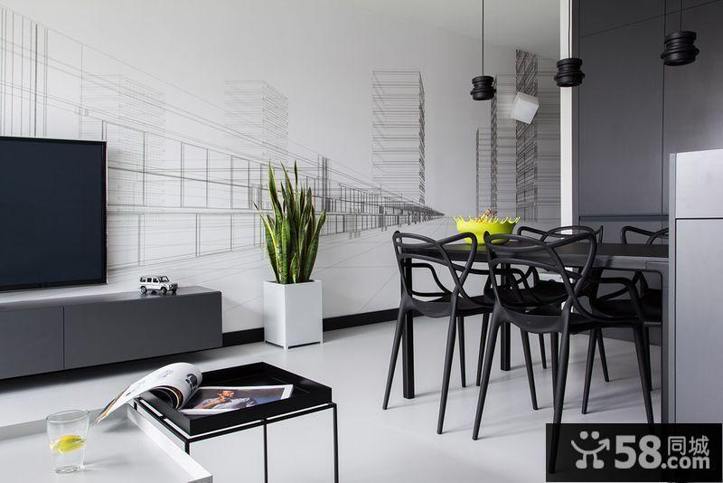 现代风格客厅电视背景