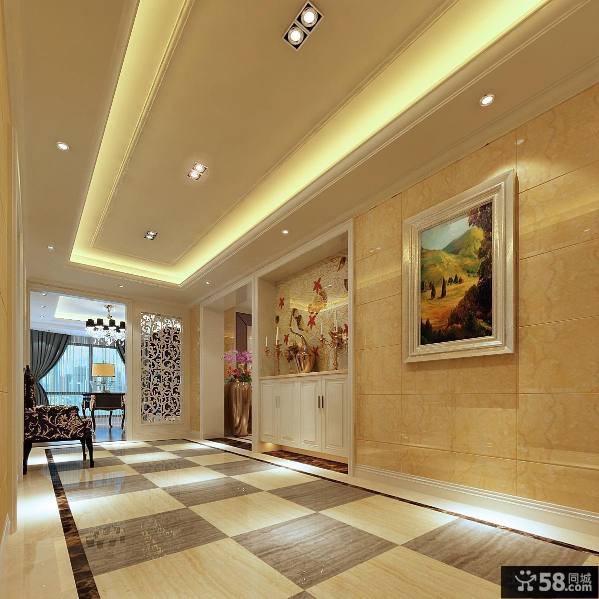 欧式风格客厅玄关装修效果图片